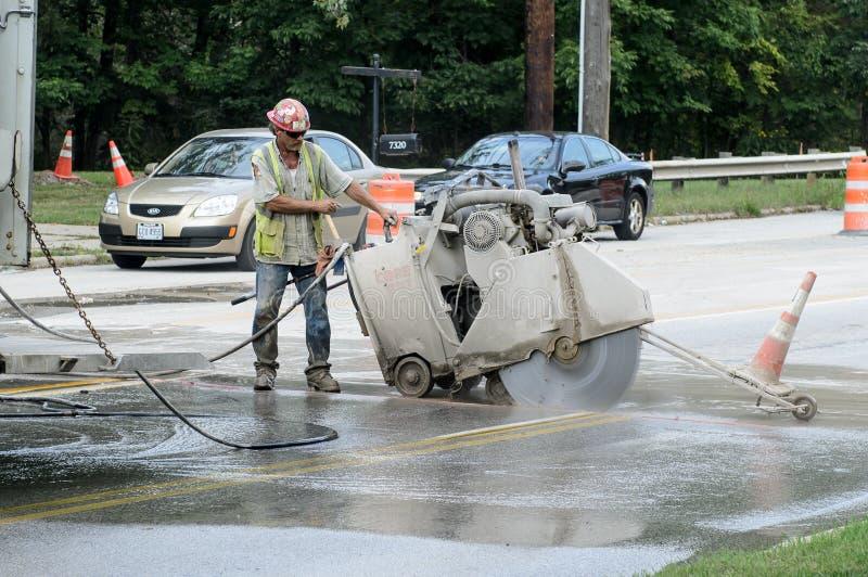 Cement zobaczył rozcięcia betonować zdjęcia stock