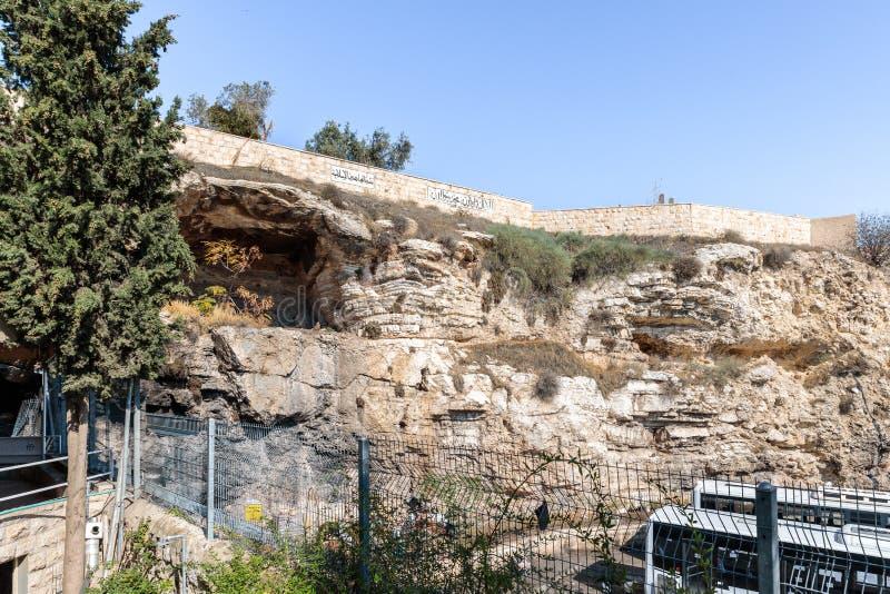 Cementerio árabe en la montaña Bald - Calvary Visión desde la tumba Jerusalén del jardín situada en Jerusalén oriental, Israel fotos de archivo