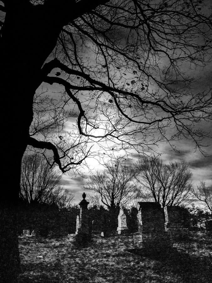 Cementerio, árbol y claro de luna abstractos imágenes de archivo libres de regalías