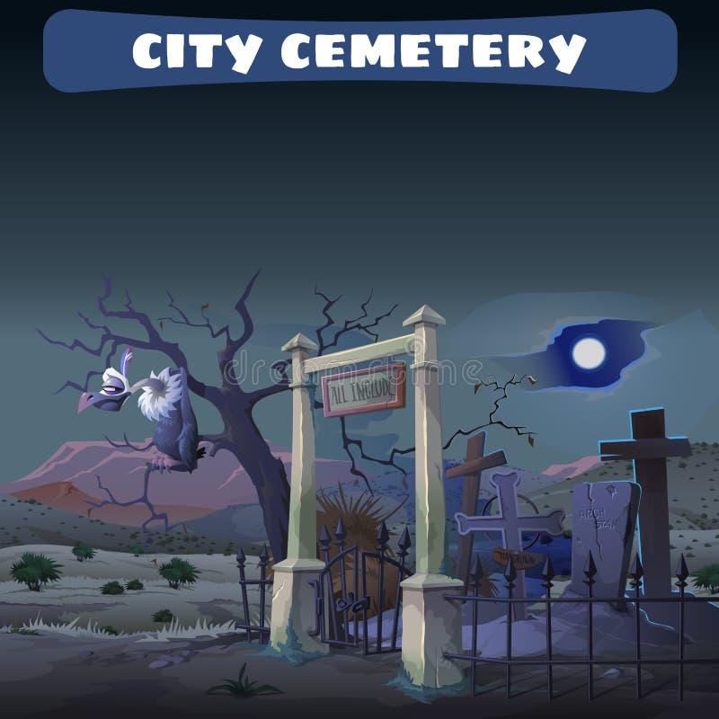 Cementerio abandonado en el desierto y el guardia Gryphon ilustración del vector