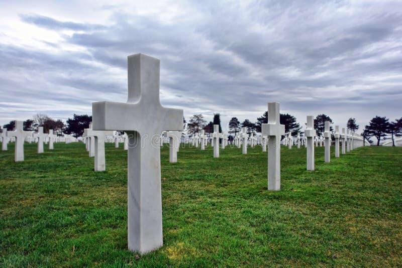Cementerio americano cerca de la playa Normandía Francia de Omaha foto de archivo libre de regalías