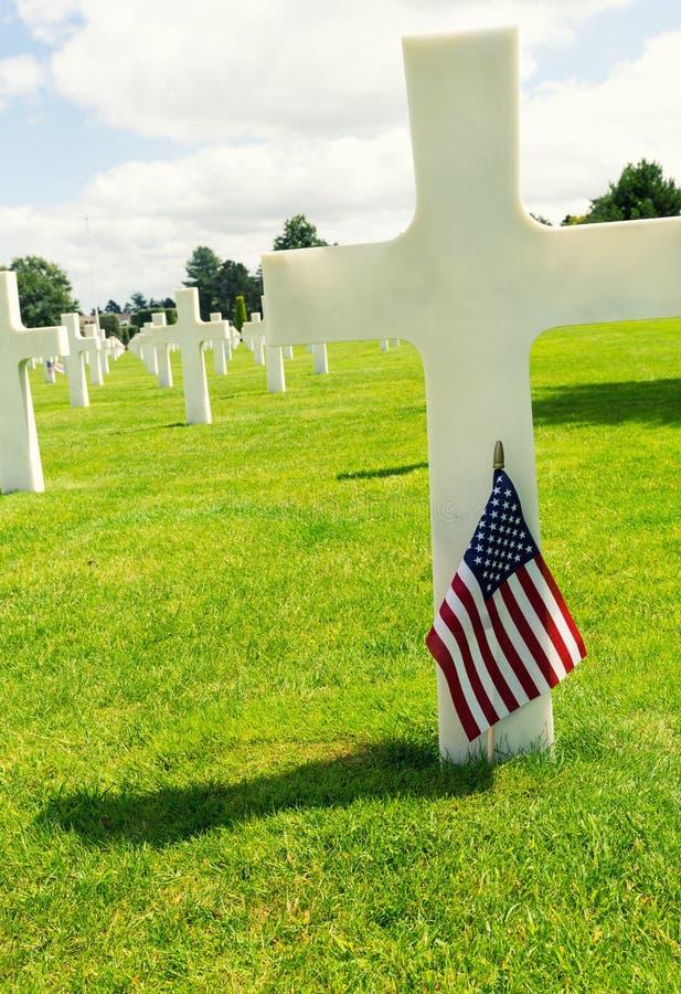 Cementerio americano de la guerra en Omaha Beach, Normandía (Colleville-sur-M imagen de archivo