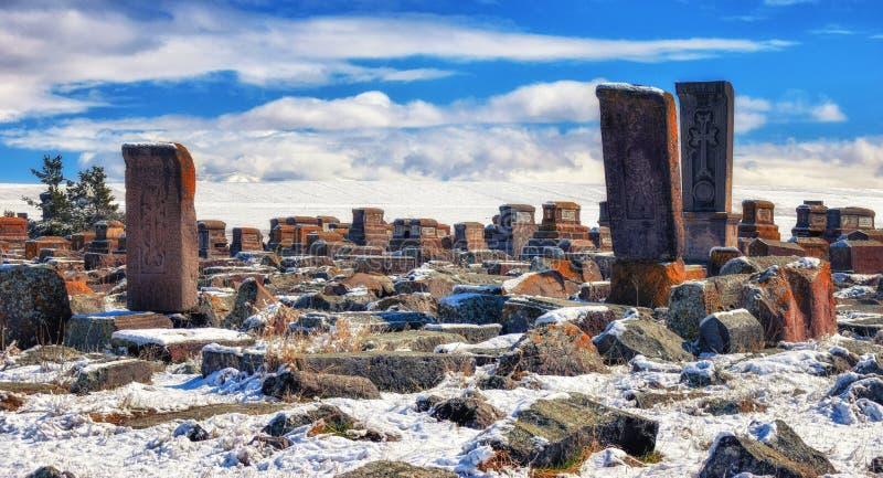 Cementerio antiguo de Noratus, Armenia imagenes de archivo