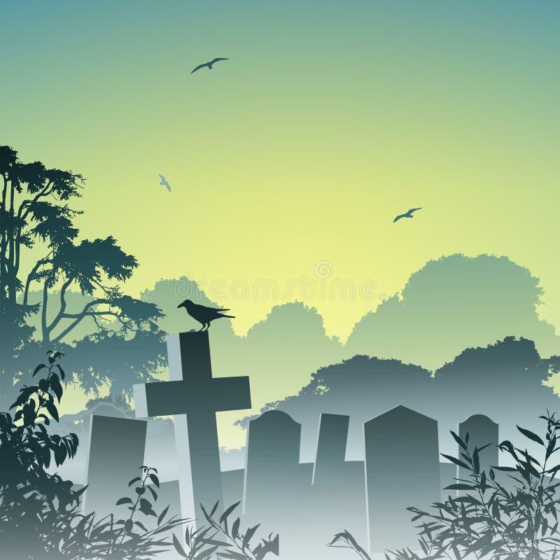 Cementerio brumoso stock de ilustración