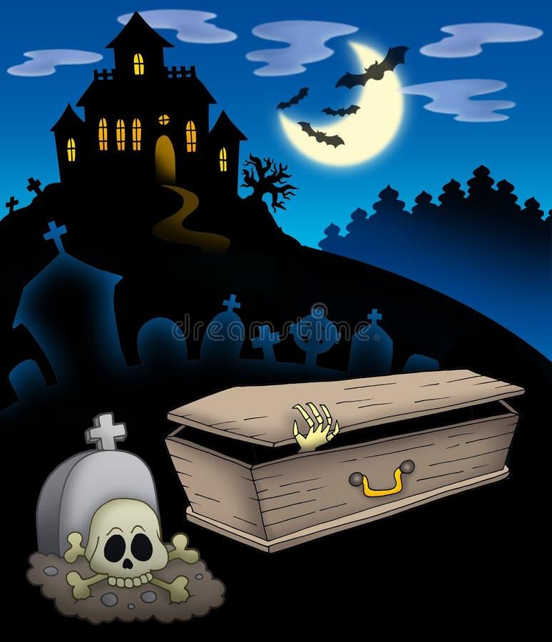 Cementerio con la casa frecuentada ilustración del vector