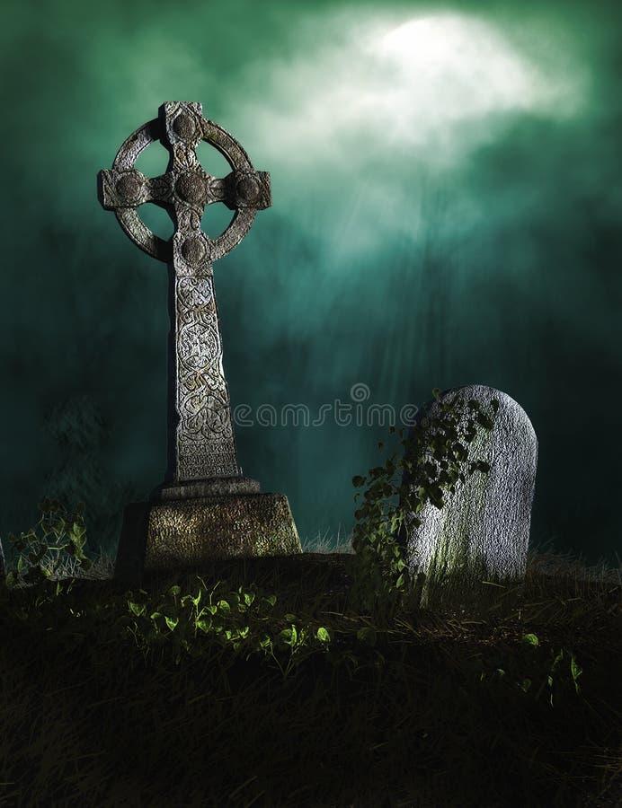 Cementerio con las lápidas mortuarias viejas ilustración del vector