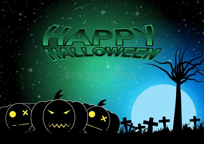 Cementerio de Halloween con el fondo del vector de la luna azul ilustración del vector