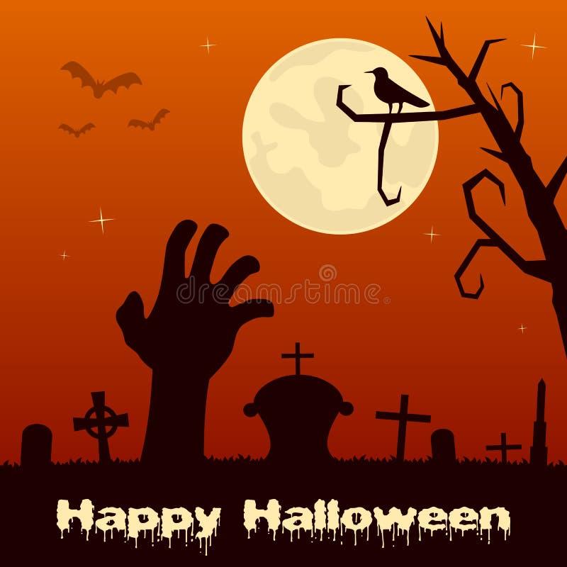 Cementerio de Halloween con la mano del zombi libre illustration