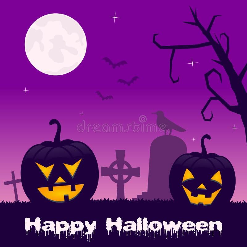 Cementerio de Halloween con las calabazas negras stock de ilustración