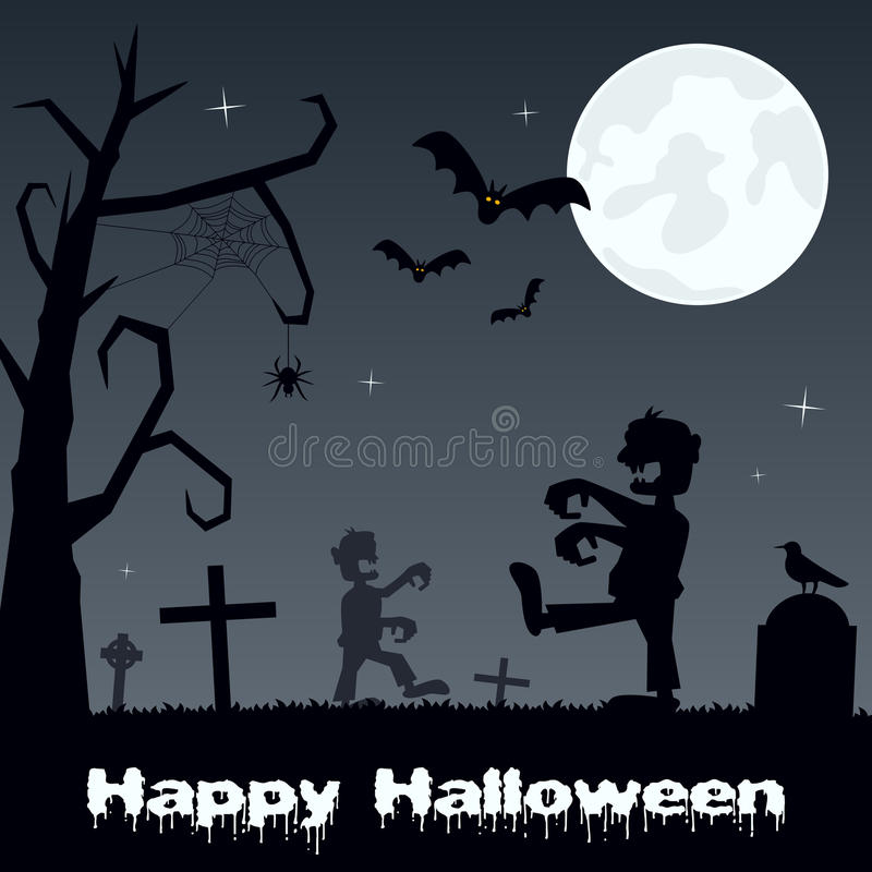 Cementerio de Halloween con los zombis y los palos stock de ilustración