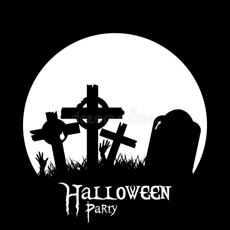Cementerio de Halloween y silueta negra de las manos del zombi ilustración del vector