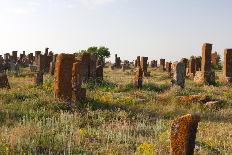 Cementerio de Khatchkar de Noraduz foto de archivo