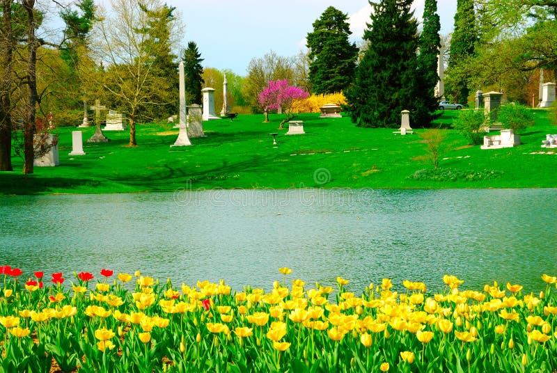 Cementerio de la arboleda del resorte imagen de archivo