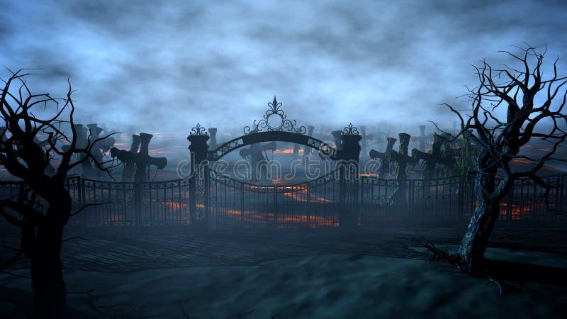 Cementerio de la noche del horror, sepulcro Claro de luna Concepto de Víspera de Todos los Santos representación 3d stock de ilustración