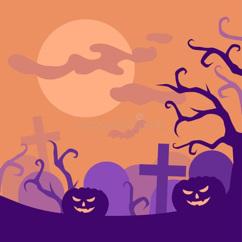Cementerio de la noche de Halloween y tarjeta de felicitación espeluznantes de las calabazas, cartel asustadizo del partido del c libre illustration