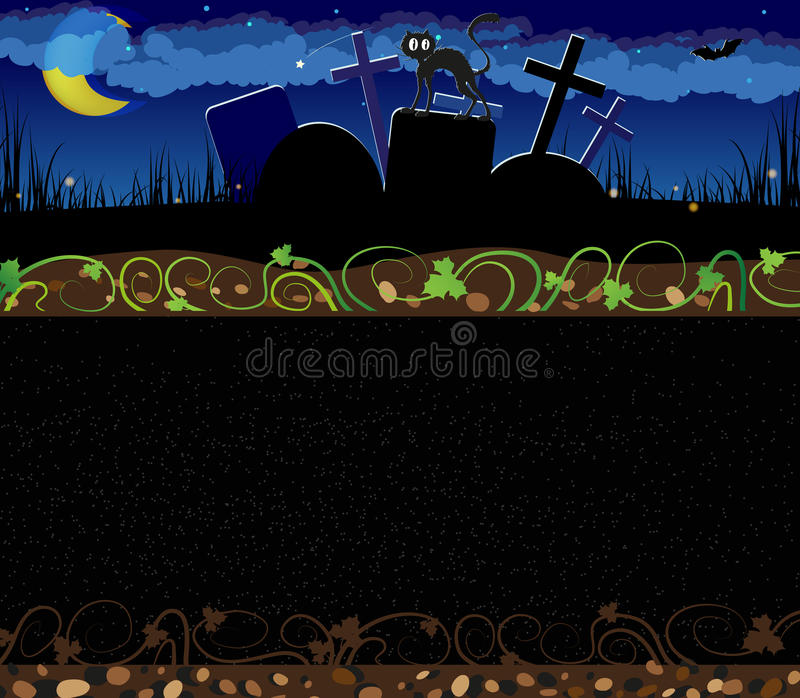 Cementerio de la noche y gato negro ilustración del vector