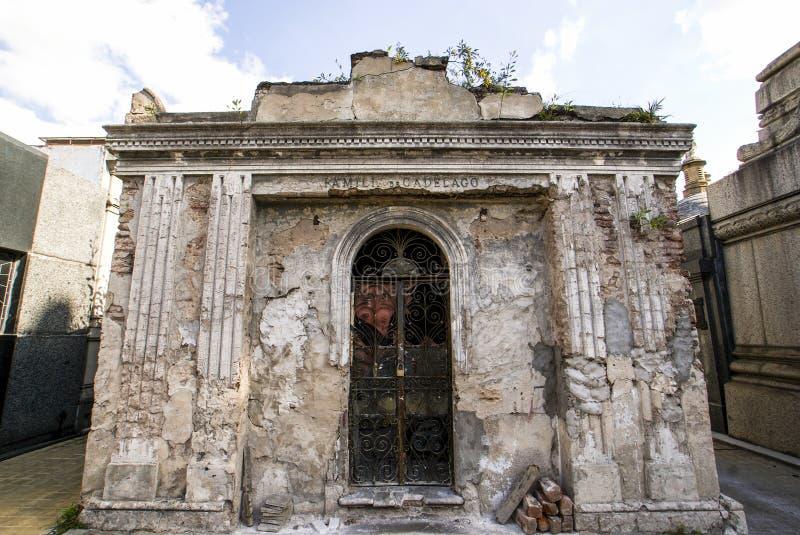 Cementerio de la Recoleta kyrkogård i Buenos Aires, Argentina arkivfoto