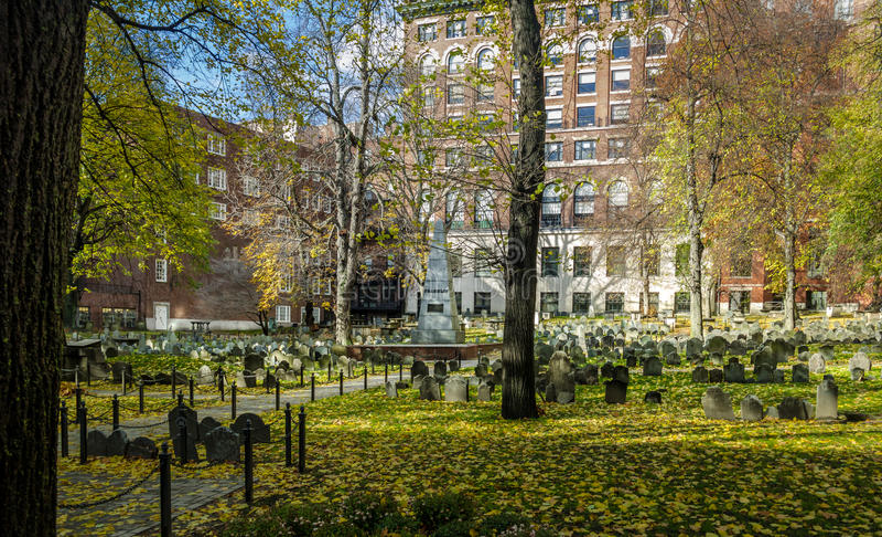 Cementerio de la tierra de entierro del granero - Boston, Massachusetts, los E.E.U.U. foto de archivo