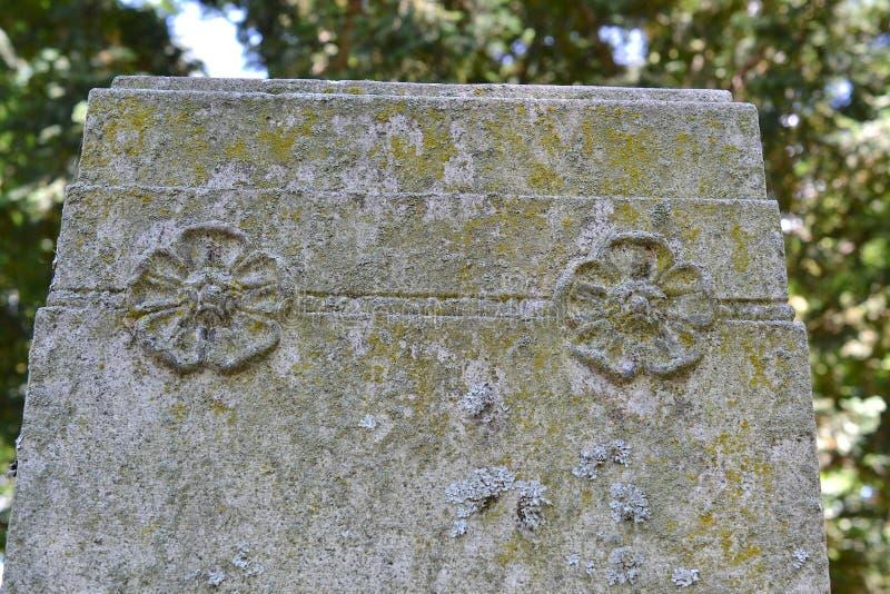 Cementerio de Riverdale, piedras viejas de la tumba que se inclinan en luz filtrada fotografía de archivo libre de regalías