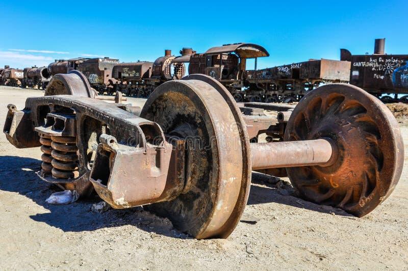 Cementerio del tren cerca de Salar de Uyuni, Bolivia fotos de archivo libres de regalías