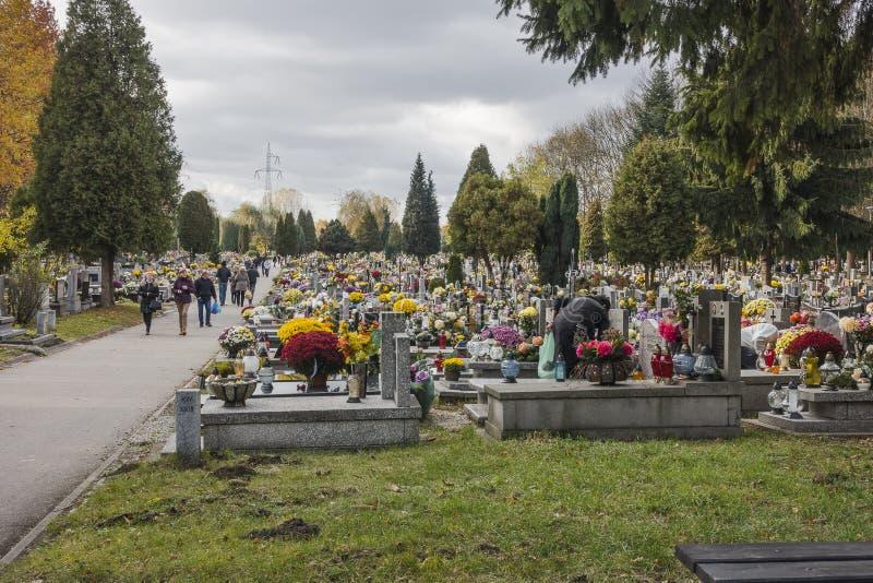 Cementerio del ³ w del 'Ã de GrÄ™baÅ, Kraków, Polonia foto de archivo