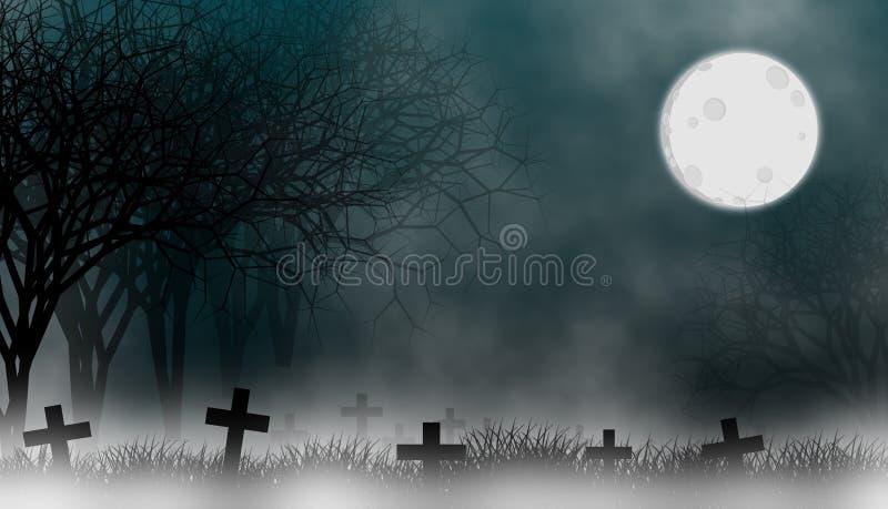 Cementerio en bosque espeluznante en la noche ilustración del vector