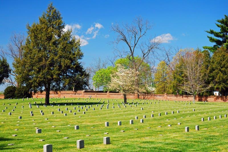 Cementerio en el sitio de la batalla de Fredericksburg imágenes de archivo libres de regalías