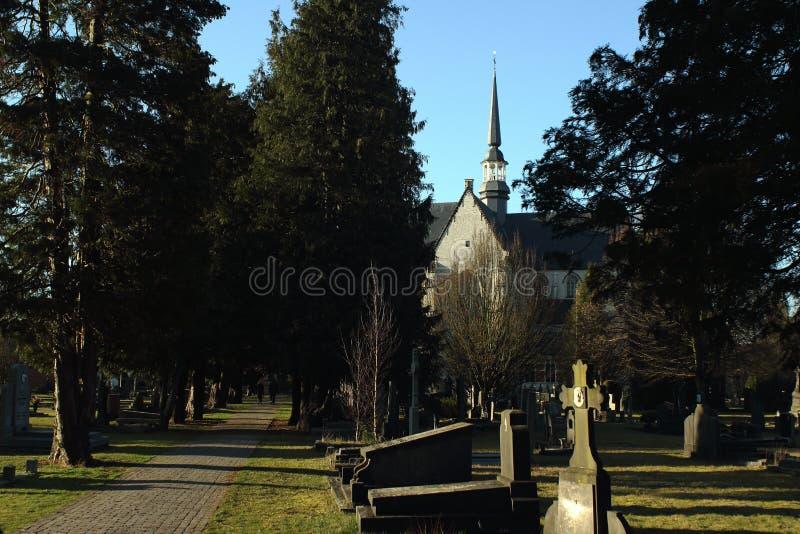 Cementerio en Geel, una peque?a ciudad en Flandes, B?lgica foto de archivo