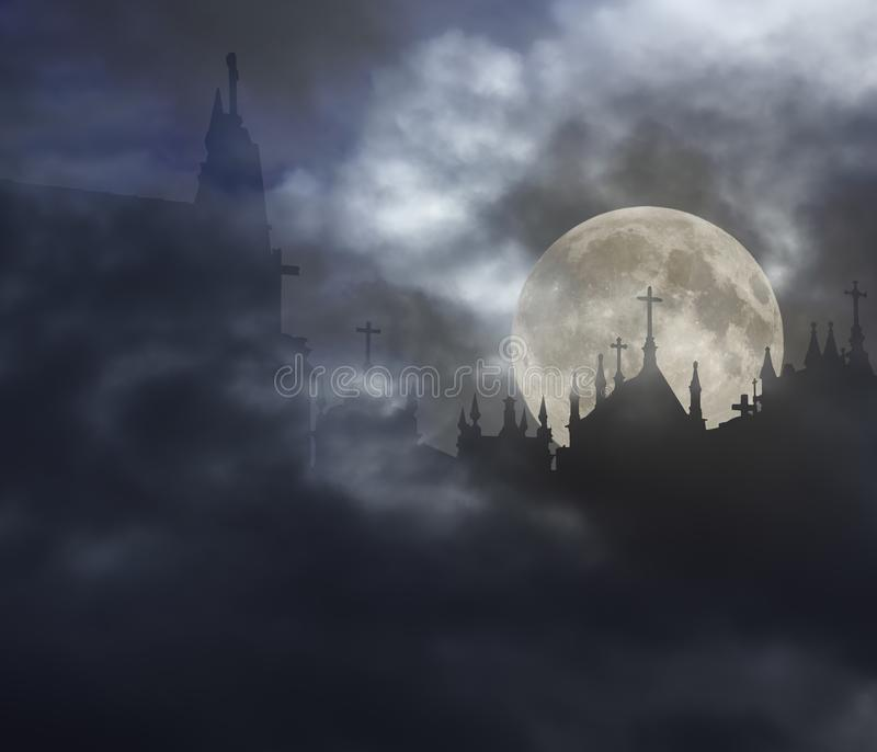 Cementerio espeluznante en una noche de la Luna Llena ilustración del vector