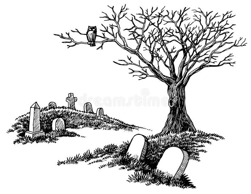 Cementerio fantasmagórico dibujado mano ilustración del vector
