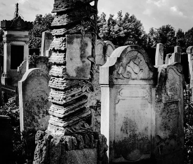 Cementerio judío abandonado viejo con los sepulcros de piedra entre los árboles fotos de archivo