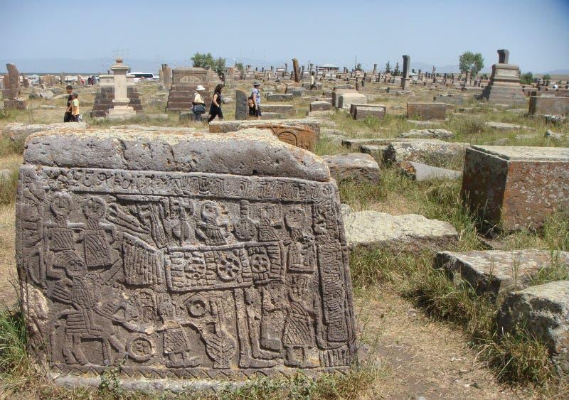 Cementerio medieval de Noraduz con khachkar numeroso en Armenia imagenes de archivo