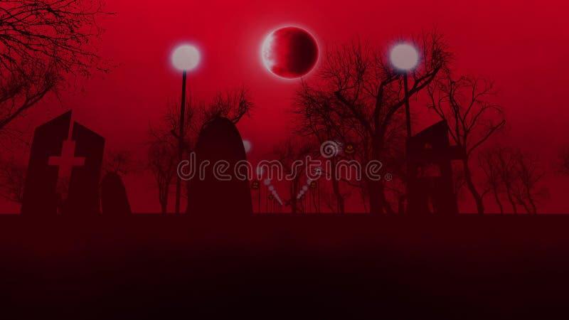 Cementerio melancólico con tres tumbas en Halloween stock de ilustración