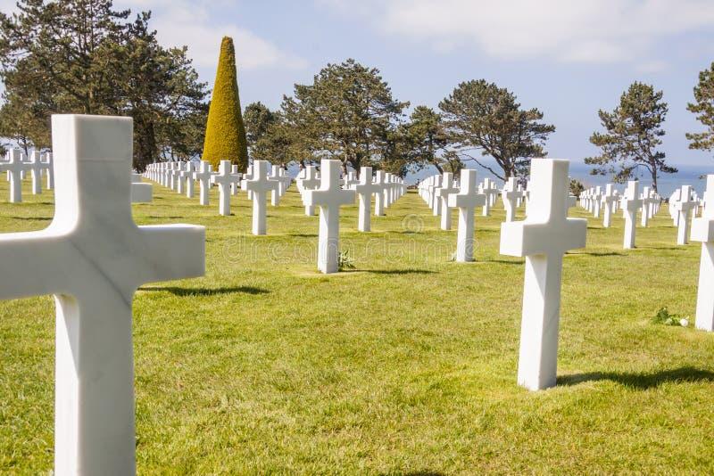 Cementerio militar - Omaha Beach, Normandía Francia. fotografía de archivo libre de regalías