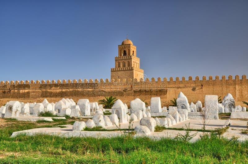 Cementerio musulmán antiguo, gran mezquita, Kairouan, Sahara Desert, fotografía de archivo