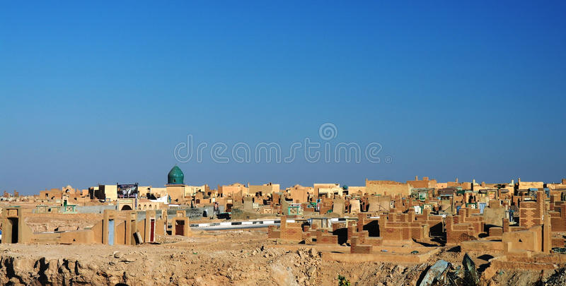 Cementerio musulmán de Uno-Nayaf, Iraq imagen de archivo libre de regalías