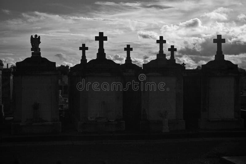 Cementerio negro y blanco de New Orleans fotos de archivo