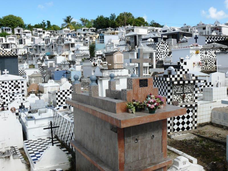 Cementerio típico de blanco y negro en Guadalupe fotos de archivo libres de regalías
