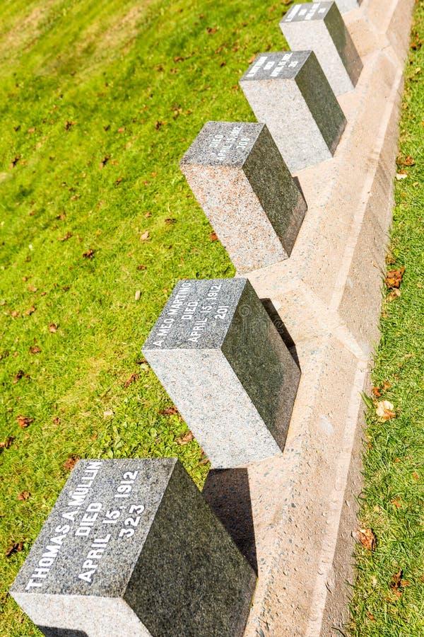 Cementerio titánico Lugar en la ciudad de Halifax en Canadá donde t foto de archivo