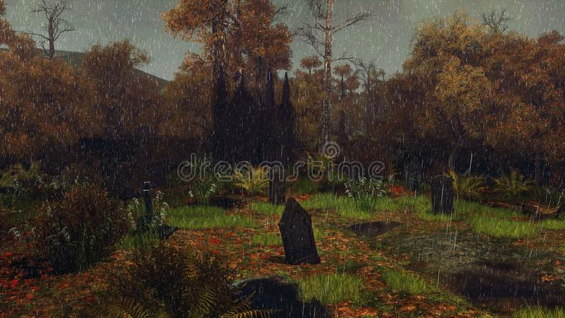 Cementerio viejo en la noche lluviosa del otoño ilustración del vector