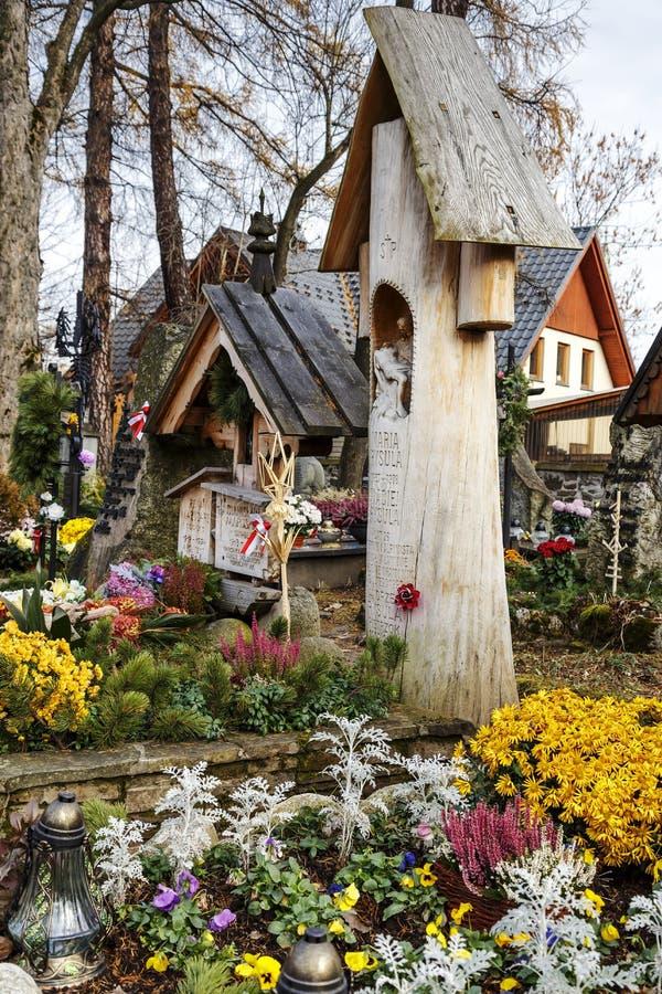 Cementerio viejo en Zakopane en Polonia imagenes de archivo