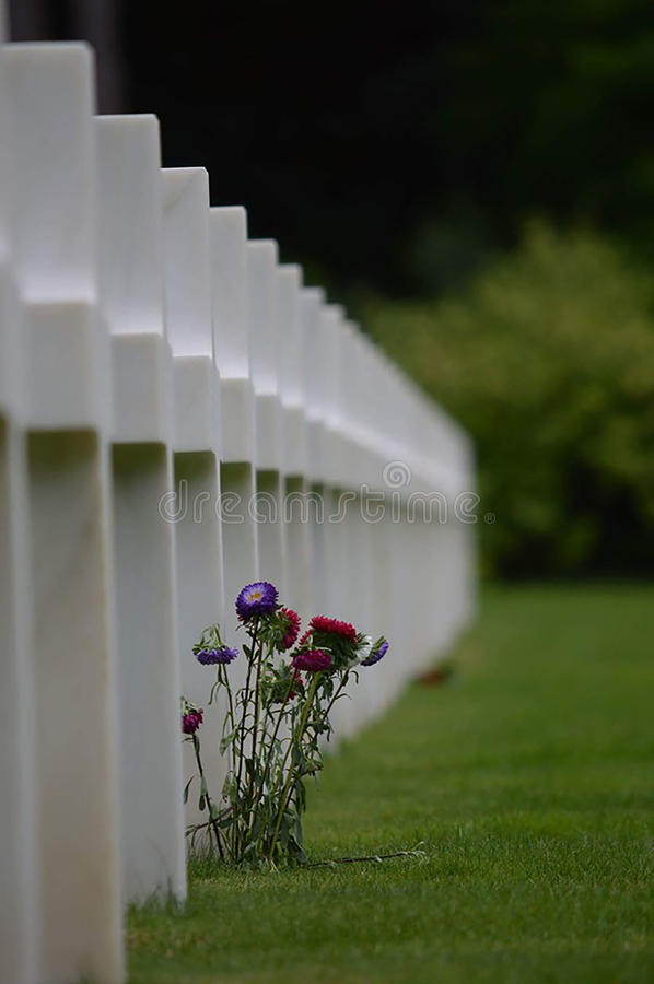 Cementerio y monumento americanos de Normandía imagenes de archivo