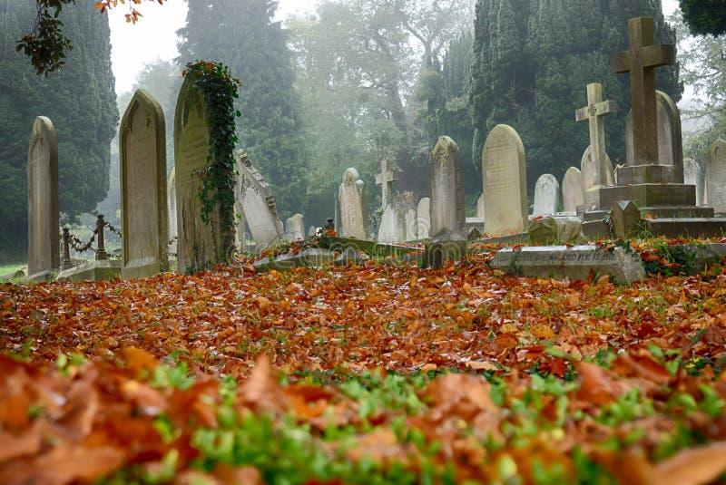 Cementery im Herbst lizenzfreie stockbilder