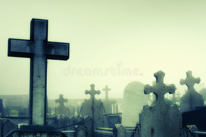 Cementery with tombstones and crosses royalty free stock photos