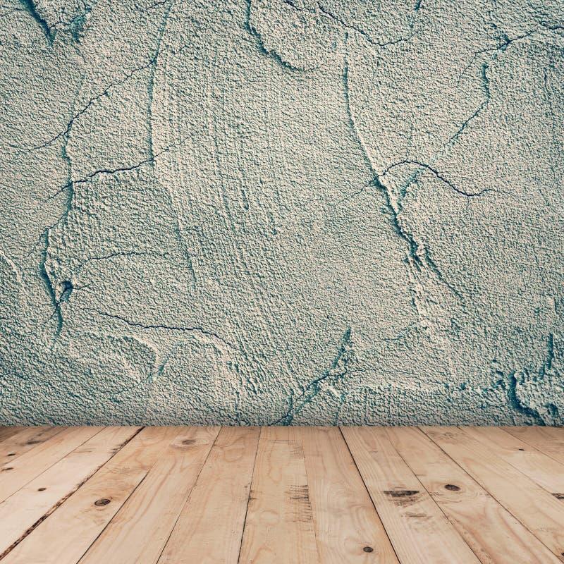 Cementmuur en houten vloerachtergrond en vertoningsmontering voor product royalty-vrije stock foto's