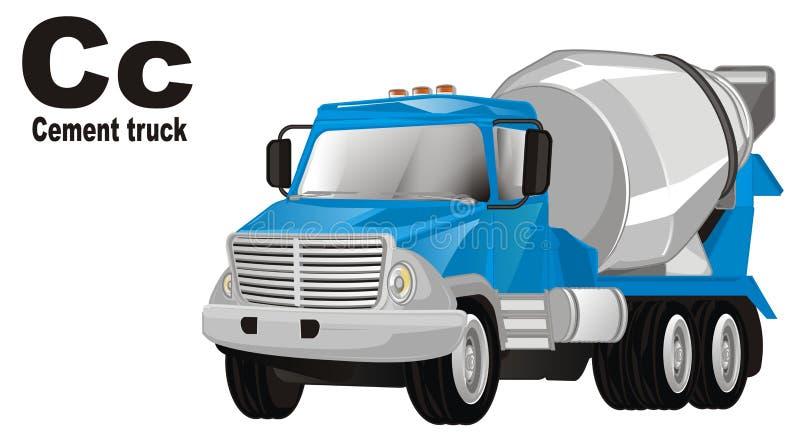 Cementowa ciężarówka i abc royalty ilustracja