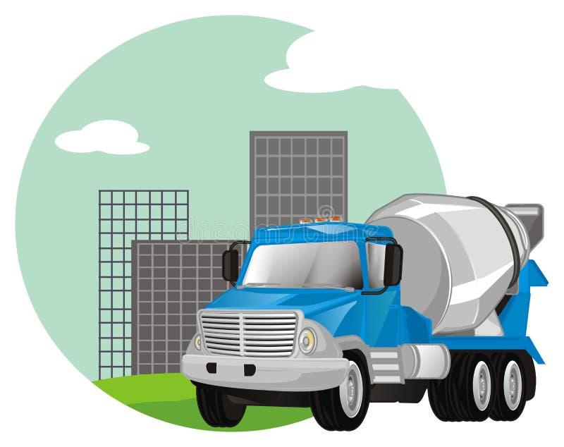 Cementowa ciężarówka z ikoną ilustracja wektor