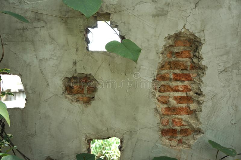 cementtextuur, Rode bakstenen muren, het ontwerpideeën van de Zolderstijl stock fotografie