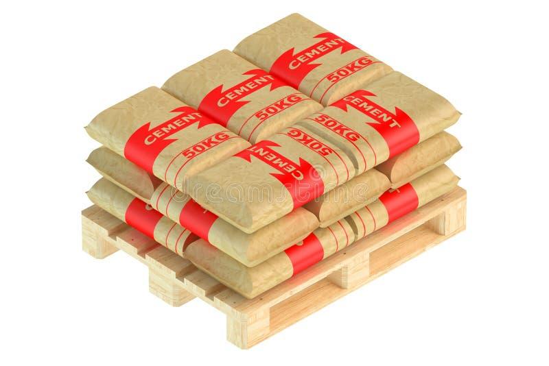 Cementzakken op pallet vector illustratie