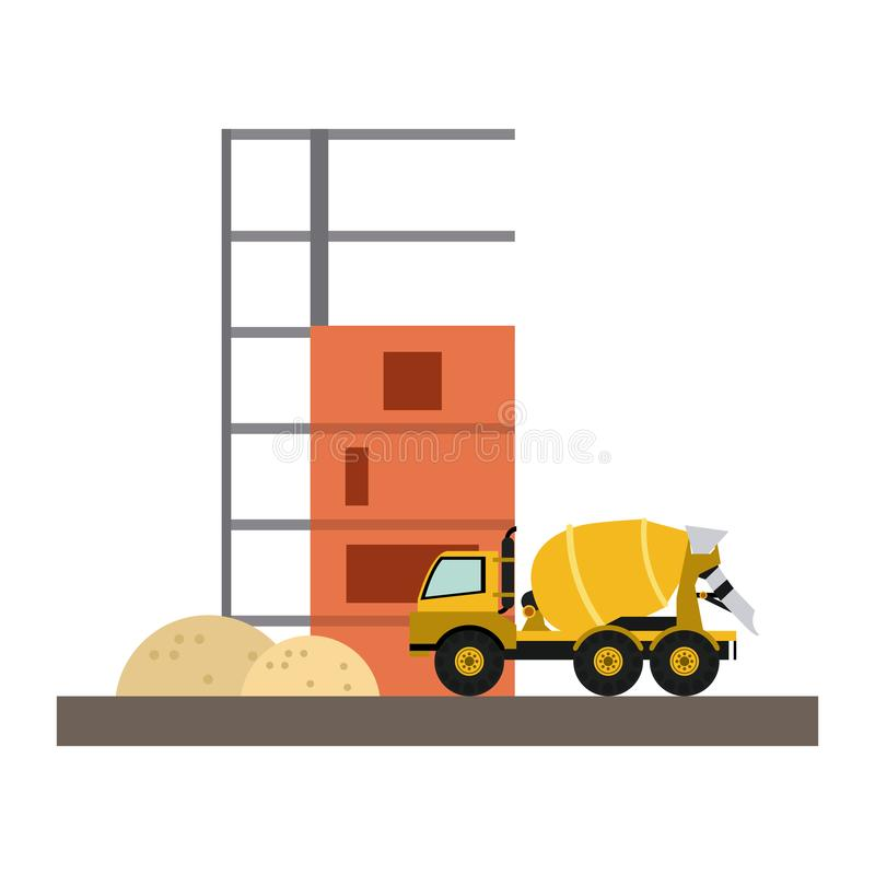 Cemet truck vehicle. And contruction buildings vector illustration graphic design stock illustration